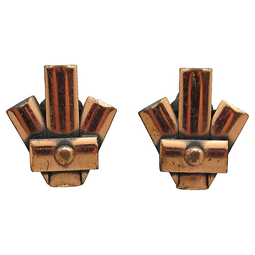 Renoir Copper Fan-Style Earrings