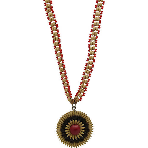 African Necklace w/ Seed Pendant