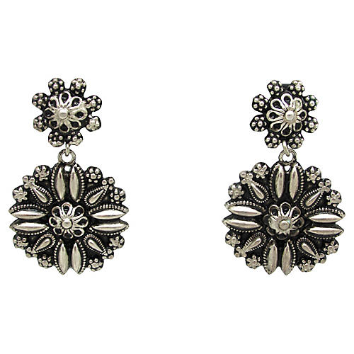 Repoussé Flower Drop Earrings