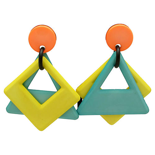 1980s Bold Geometric Earrings