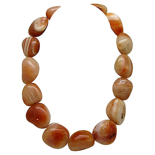 Chunky Polished Agate Bead Necklace
