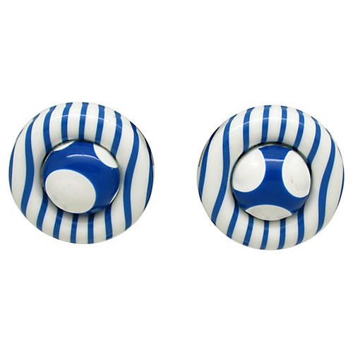 1980s Stripes & Dot Earrings