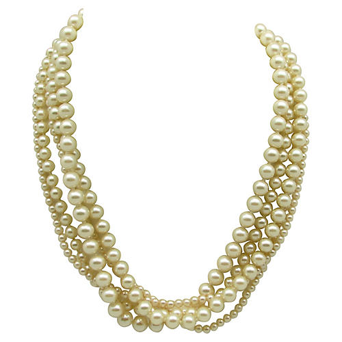 Five-Strand Faux-Pearl Necklace