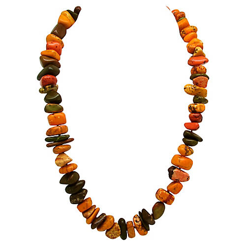 Fire Agate & Turquoise Bead Necklace