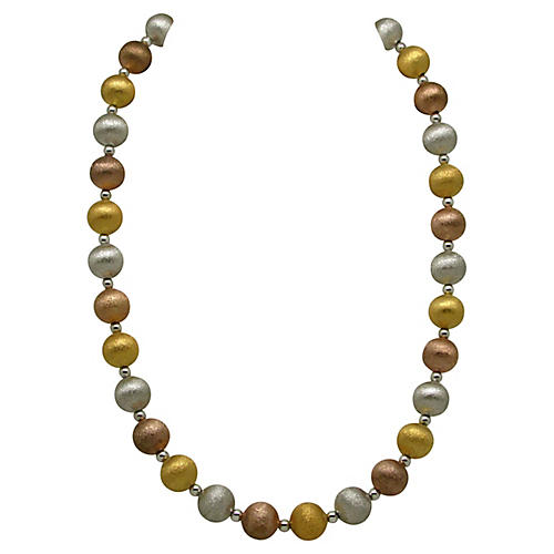 Tri-Color Metal Bead Necklace