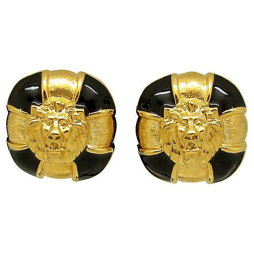 Enameled Lion Earrings