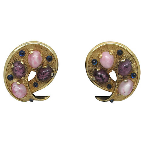 Boucher Earrings w/ Glass Cabochons