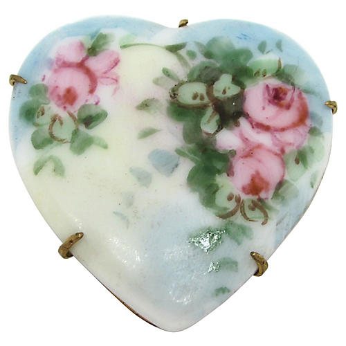 Hand-Painted Porcelain Heart Pin