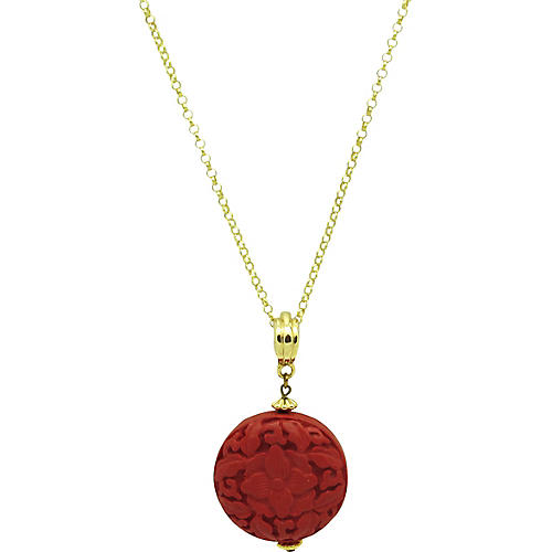 Carved Cinnabar Pendant Necklace
