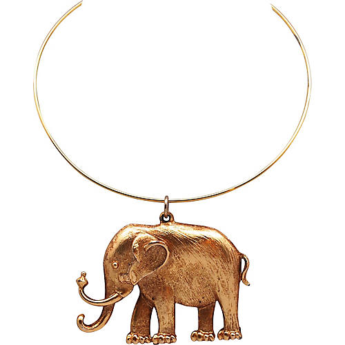 1970s Elephant Pendant Necklace
