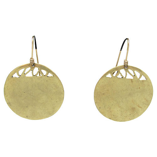 D. Stewart Brass Modernist Earrings