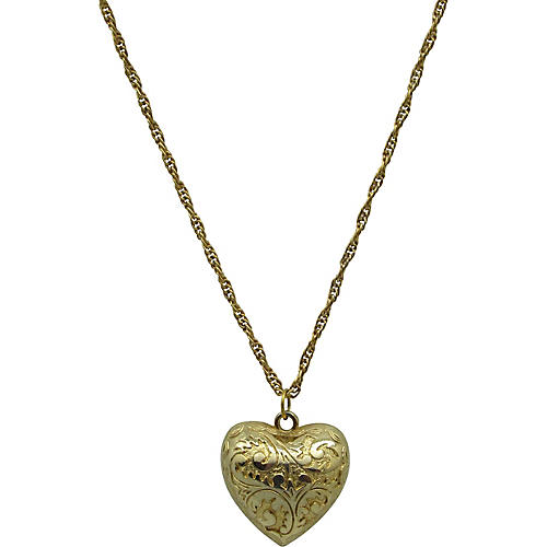 Engraved Puffed Heart Pendant On Chain