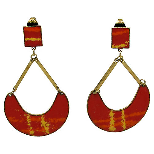 1970s Enameled Pendulum Earrings