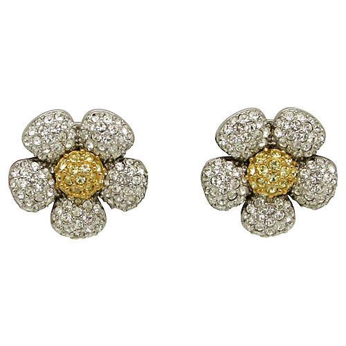 Pavé Rhinestone Puffed Flower Earrings