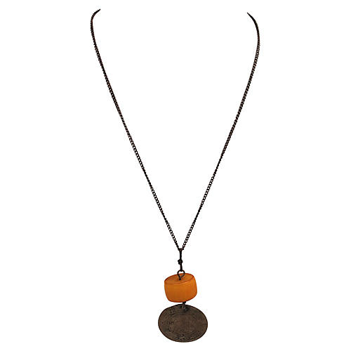 Turkish Coin & Amber Pendant Necklace