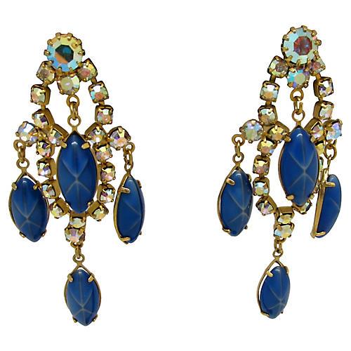 Blue Glass Chandelier Earrings
