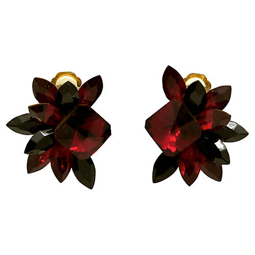 Ruby Red & Black Rhinestone Earrings