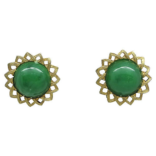 Faux-Jade Sunflower Earrings
