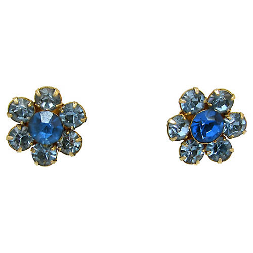 Shades of Blue Rhinestone Earrings