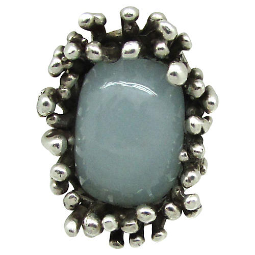 Brutalist Sterling & Moonstone Ring