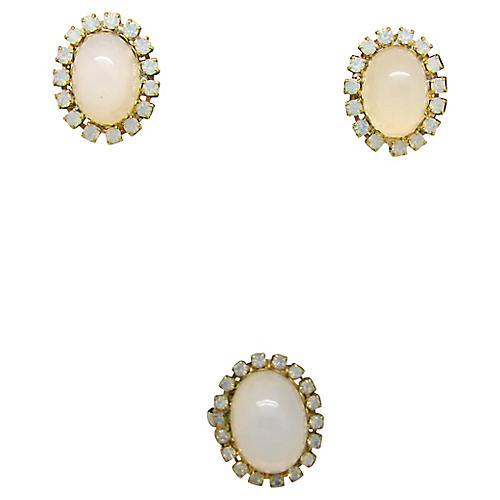 Faux-Opal Earrings & Ring