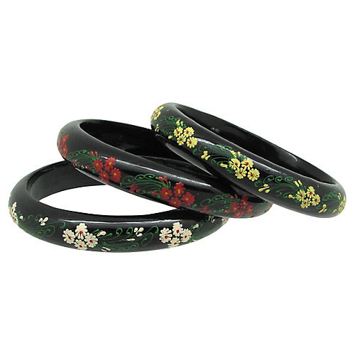 Hand-Painted Floral Wood Bangles, S/3