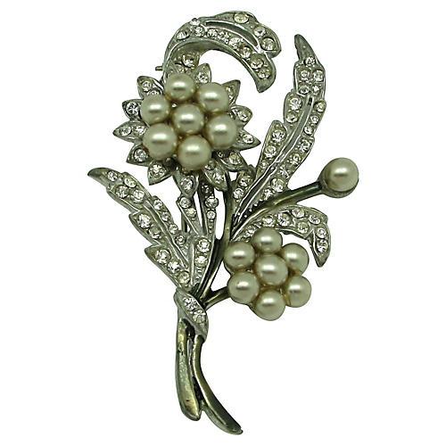 Floral Spray Brooch W/Faux Pearls