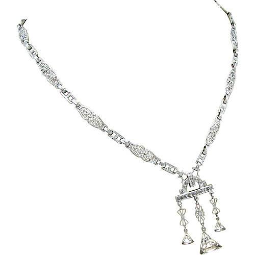 Edwardian Filigree Necklace W/Glass