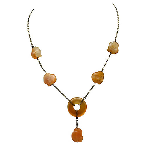 1920s Carved Carnelian Bead Necklace