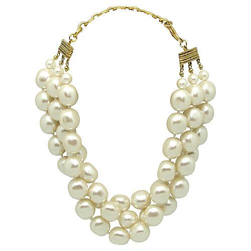 1980s Carolee Baroque Pearl Necklace