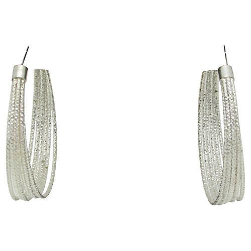 Faceted Multi Hoop Metal Earrings