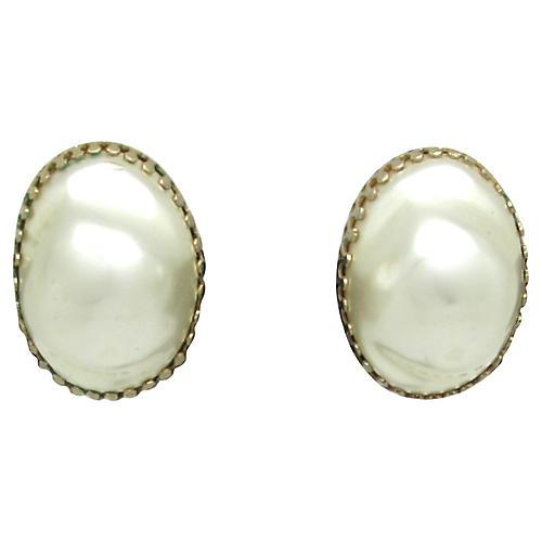 Coro Magi-Clip Baroque Pearl Earrings