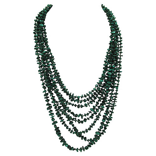 Multi-Strand Malachite Bead Necklace