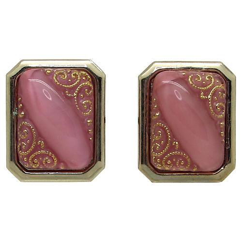 Ornate Glass Marbled Glass Cuff Links