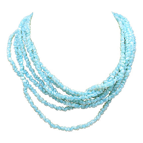 H & S Blue Glass Torsade Necklace