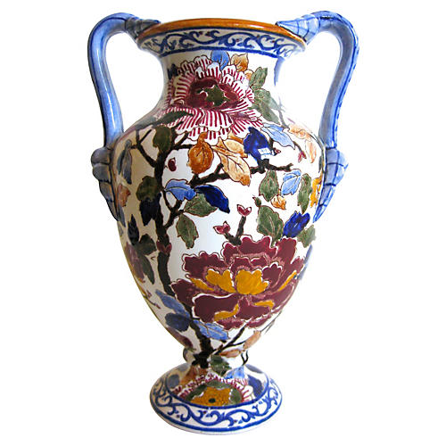 French Faience Double-Handled Vase