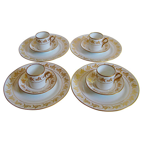 Ginori Porcelain Dessert Set, Svc for 4
