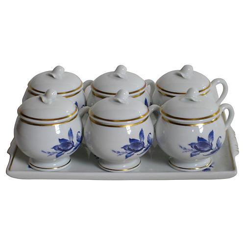 Ginori Pots de Crème & Tray, 7 Pcs