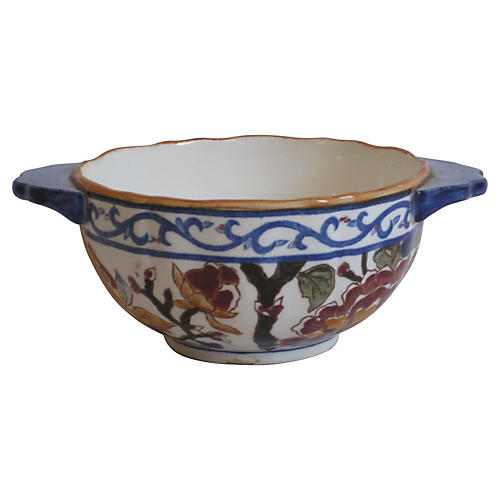 French Faience Double-Handled Bowl