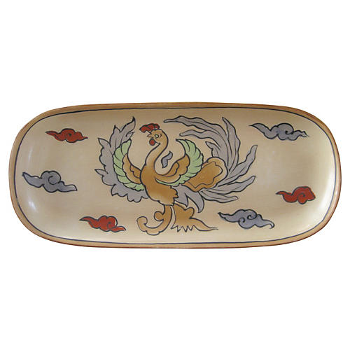 1920s Hand-Painted Porcelain Tray