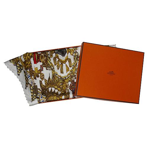 Hermès Tuxedo Pleats Scarf w/Box