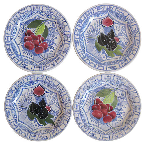 French Faience Fruit Plates, S/4