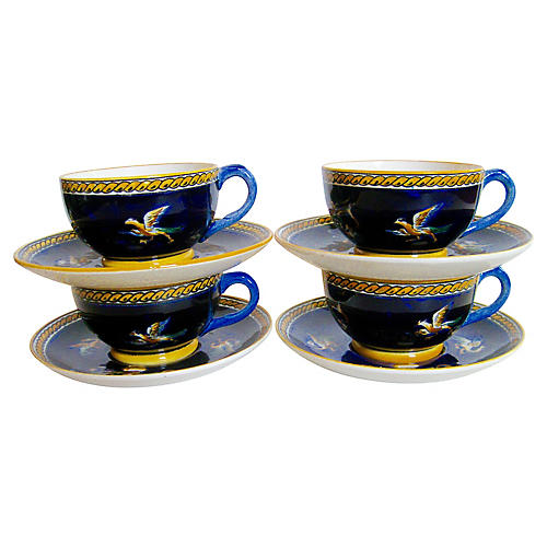French Faience Cups & Saucers S/4