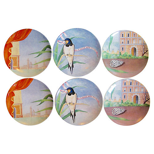 Gien French Fairytale Plates, S/6
