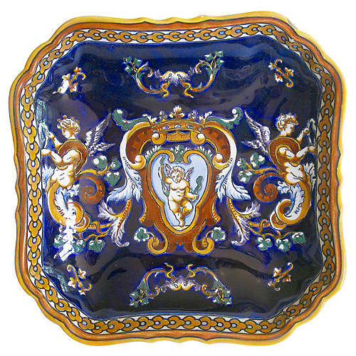 French Faience Cherub Letter Tray