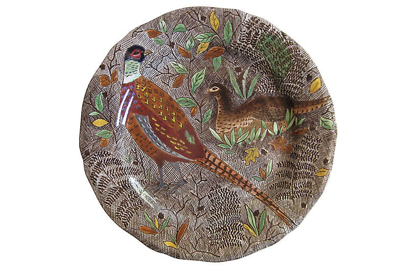 French Faience Pheasants Plate