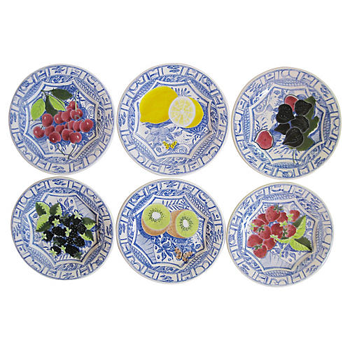 French Faience Dessert Plates, S/6