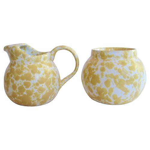 American Pottery Sugar & Creamer