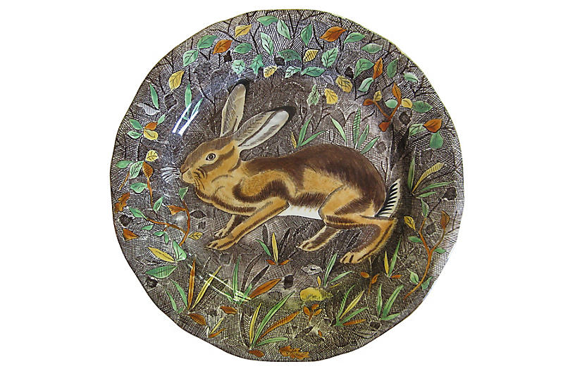French Faience Rabbit Plate