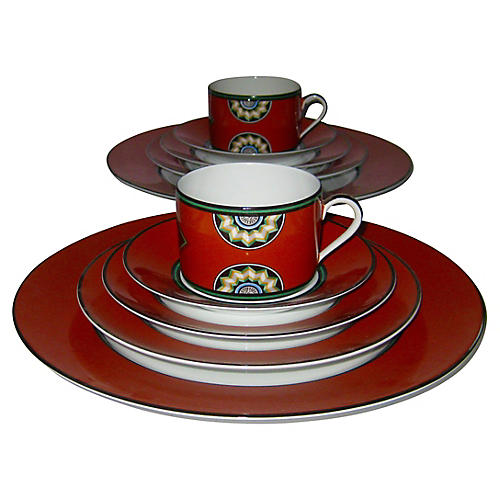 Puiforcat Porcelain Set, Svc. for 6